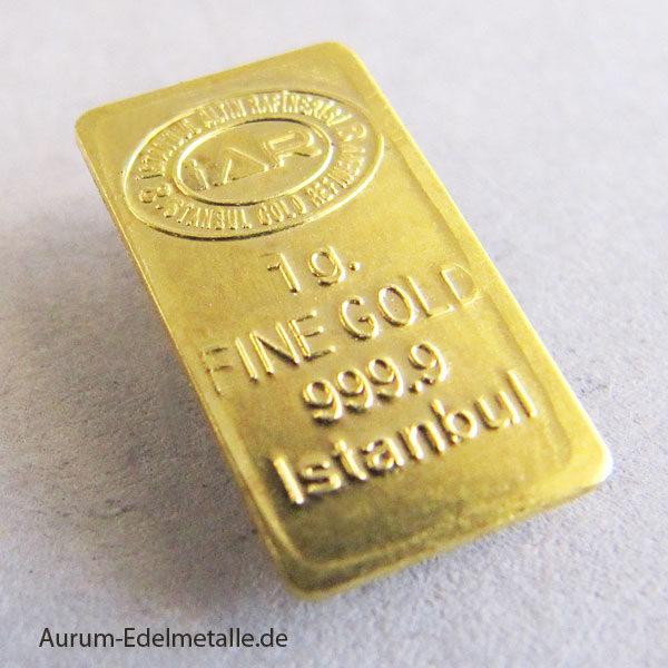 Goldbarren 1 Gramm Feingold 9999Istanbul Altin Rafinerisi IAR