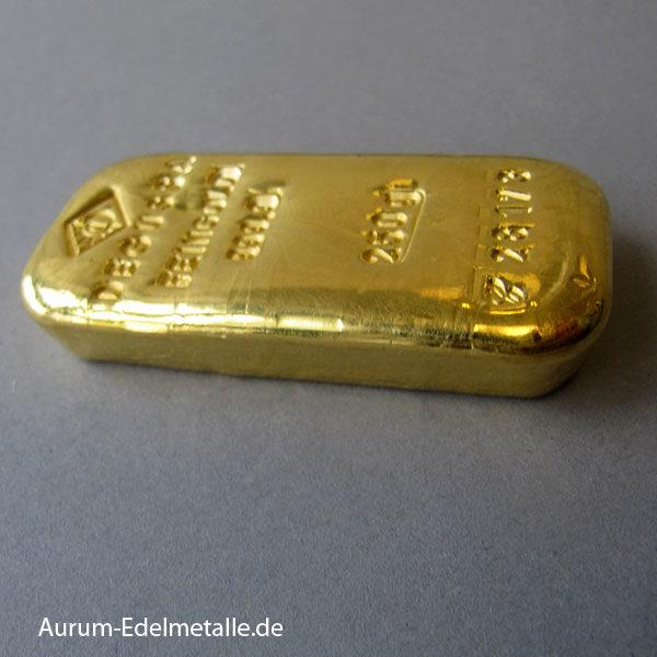 Goldbarren 250g historisch Sargform ehemalige echte Degussa