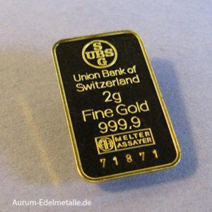 Goldbarren 2g Feingold 9999 UBS Schweiz