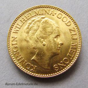 Niederlande 10 Gulden Wilhelmina 1925-1933 Goldmünze