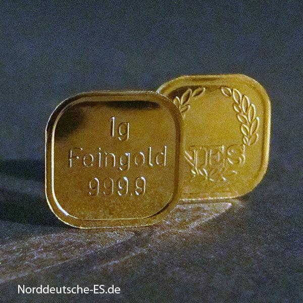 1g Goldbarren Feingold 999.9 Norddeutsche ES