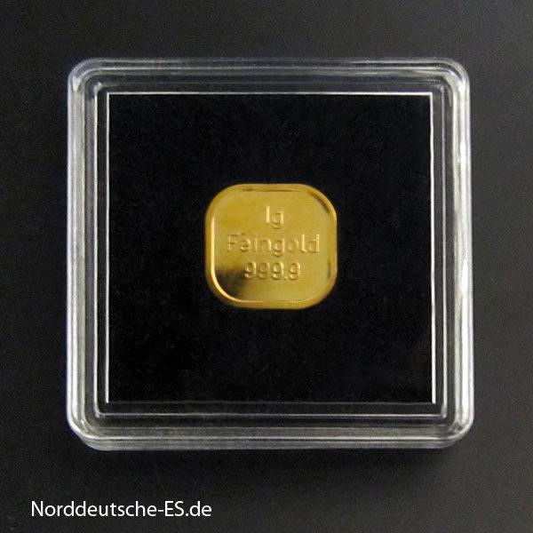 1g Goldbarren Feingold Verpackung Versand