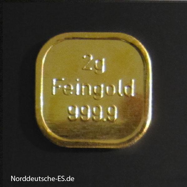 2g Goldbarren Feingold 999.9 Norddeutsche ES