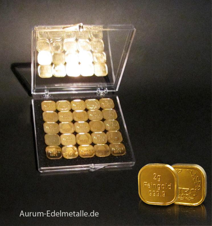50g Tafelgold 2g Barren aus Feingold 9999 Norddeutsche ES