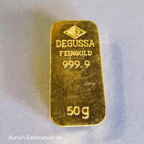 Degussa Goldbarren 50g Sargform historisch 9999 Feingold