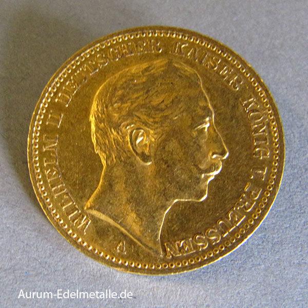 Deutsches Reich 20 Mark Gold 1896 Kaiser Wilhelm II
