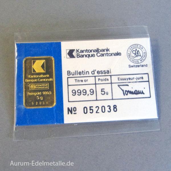 Goldbarren 5g Feingold 9999 Zürcher Kantonalbank
