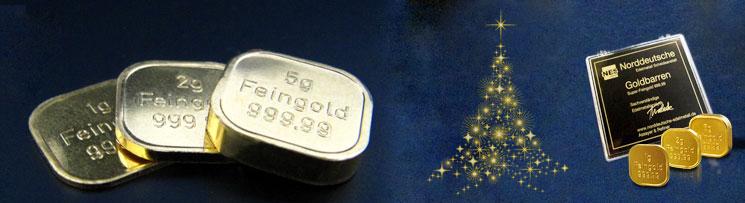 Sonderedition 3 Weihnachts-Goldbarren 8g Superfeingold