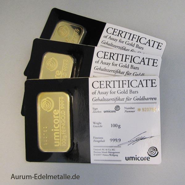 Goldbarren 100 g Umicore Blister