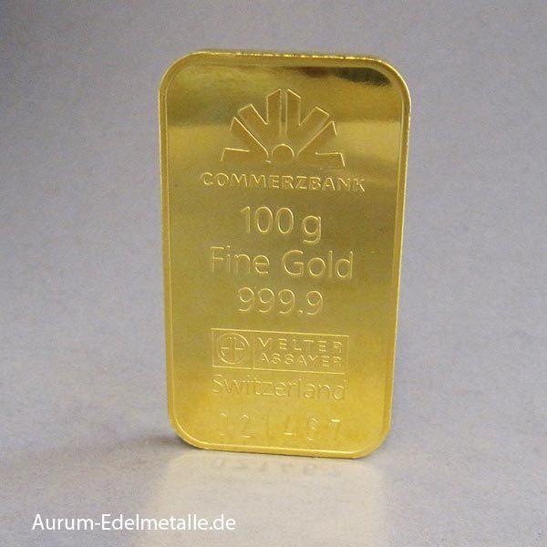 Goldbarren 100g Feingold 9999