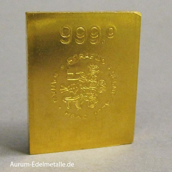Goldbarren 50g Heraeus historischer Sammlerbarren