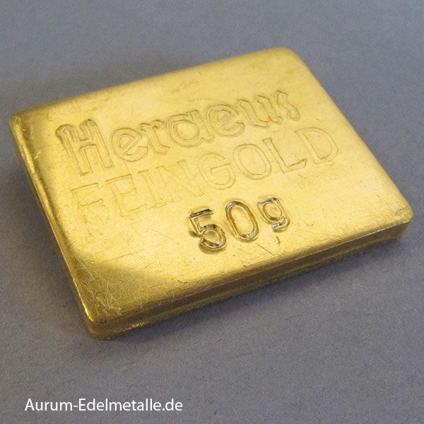 Goldbarren 50g Heraus Feingold 9999 historisch Sammlerbarren