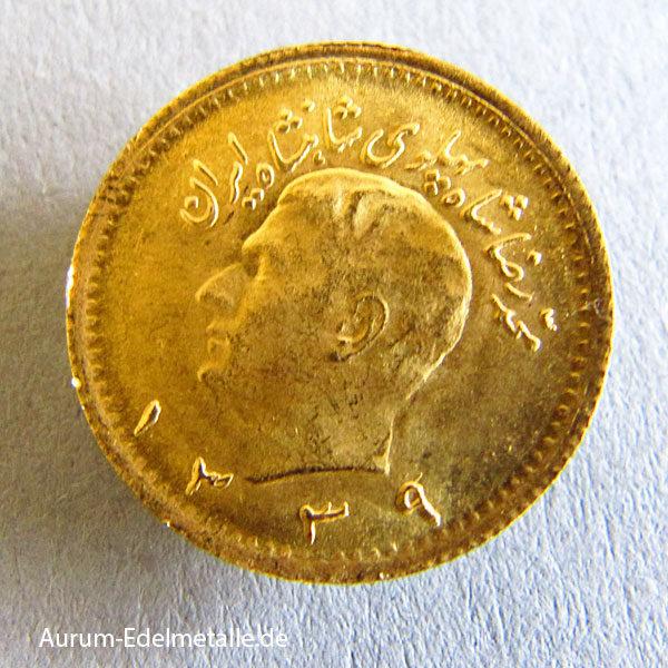 Persien 1_4 Pahlavi Goldmünze Iran 1960