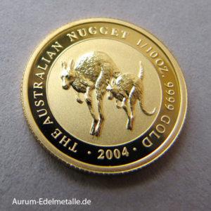 Australien Kangaroo Nugget 1_10 oz Goldmünze 2004