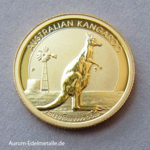 Australien Kangaroo Nugget 1_10 oz Goldmünze 2012