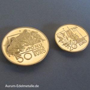 San Marino 20 Euro 50 Euro 2005 Gold Friedenstag Set