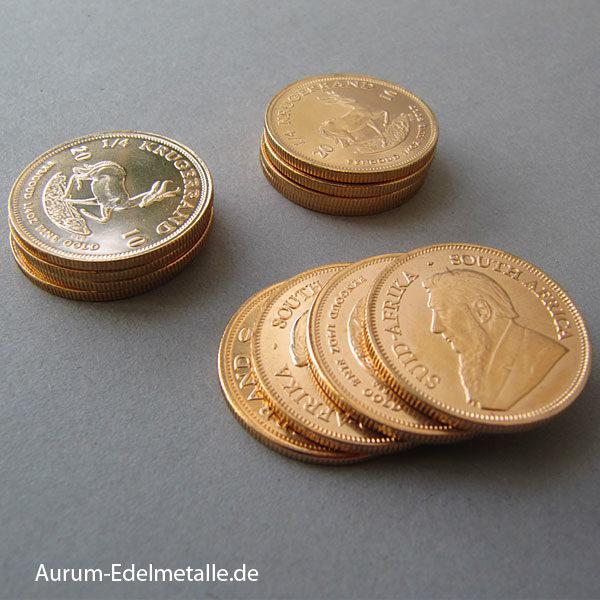 Südafrika Krügerrand Goldmünzen 4 x 1_4 oz zum Unzenpreis
