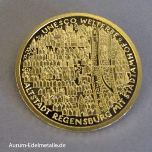 Deutschland 100 Euro Welterbe Regensburg Stadtamhof Goldmünze