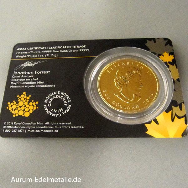 Kanada Goldmünze 1 OZ Howling Wolf 99999er Gold