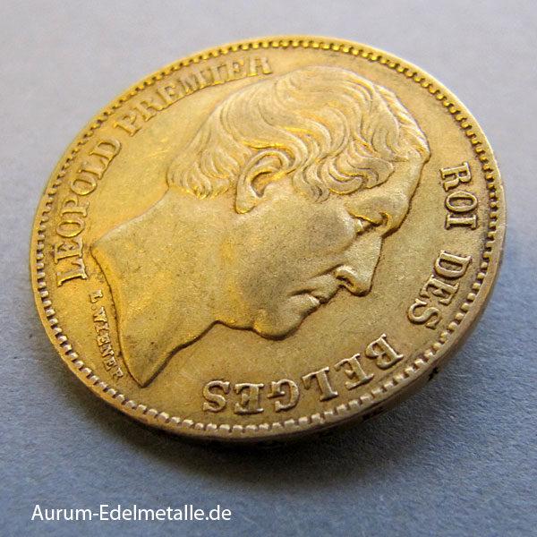 Belgien 20 Francs Goldmünze Leopold Premier 1865