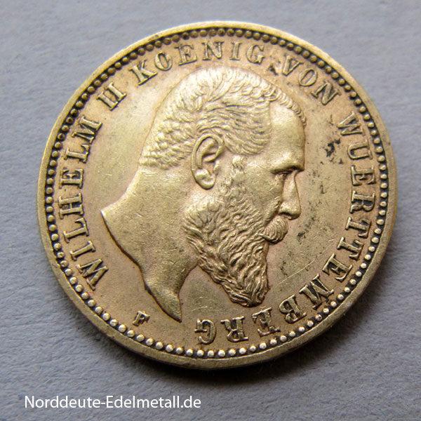 Deutsches Reich 10 Mark Gold Wilhelm II Württemberg 1893-1913