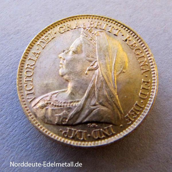 England 1_2 Sovereign Victoria Goldmünze 1837-1901