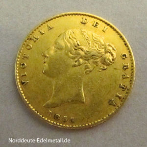 England 1_2 Sovereign Victoria Goldmünze 1838-1885