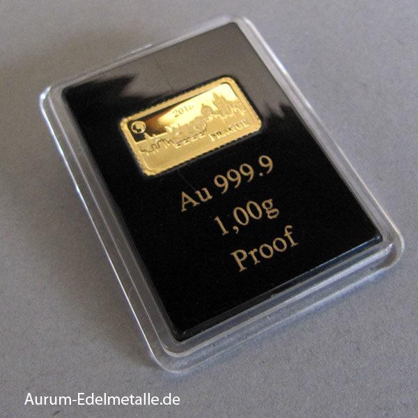 Goldbarren 1g Solomon Islands Wahrzeichen der Welt Prag 2016