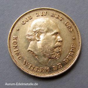 Niederlande 10 Gulden Gold König Willem III 1875-1889