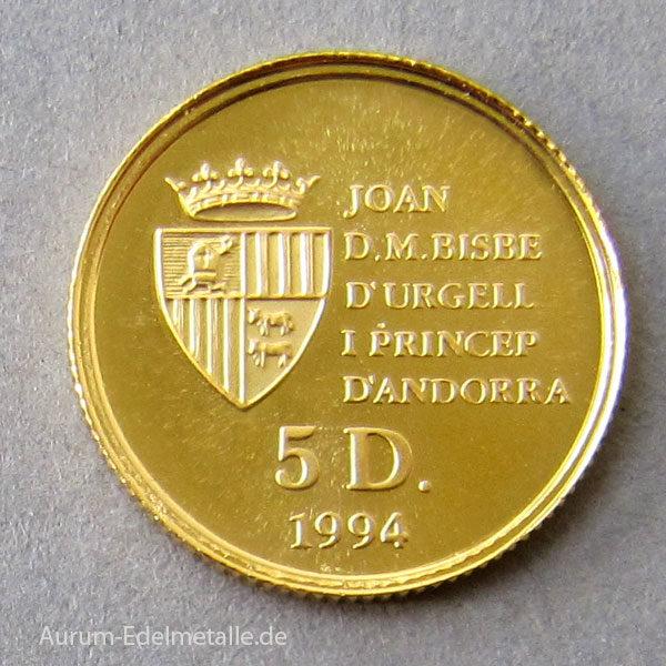 Andorra 5 Diners 1_20 oz Feingold 9999 Eichhörnchen