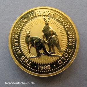 Australien Kangaroo Nugget 1_2 Unze Gold 1998