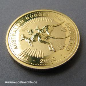 Australien Kangaroo Nugget 1_4 oz Gold 2000 Basler Stab