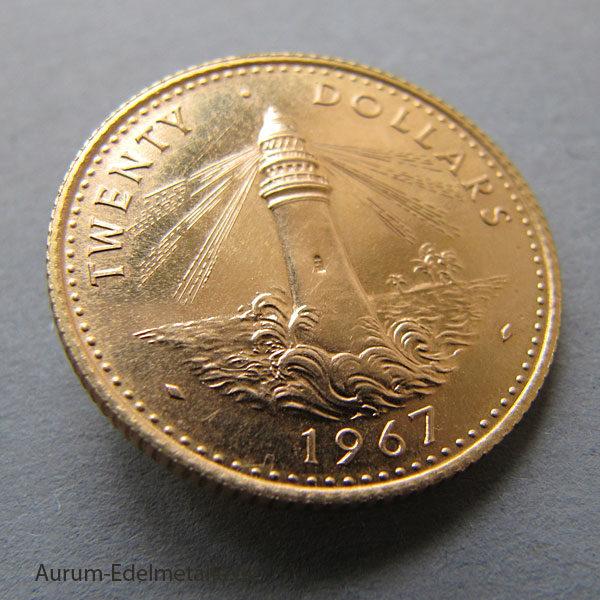 Bahamas 20 Dollars Goldmünze Leuchtturm 1967