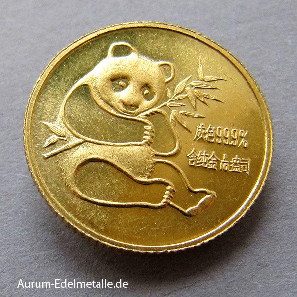China Panda 1_10 Unze 1982 Goldmünze 10 Yuan