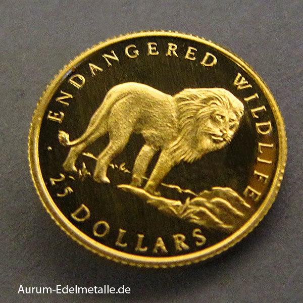 Cook Islands 25 Dollars 1_25 Unze 1992 Löwe