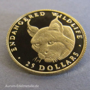 Cook Islands 25 Dollars Gold 1_25 Unze 1990 Luchs