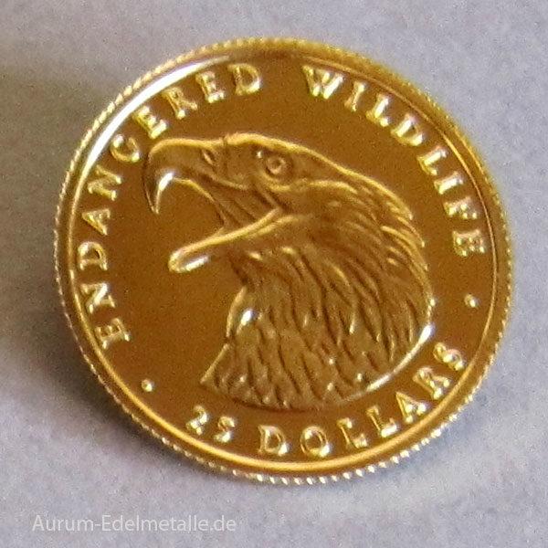 Cook Islands 25 Dollars Gold 1_25 Unze 1990 Weißkopf Seeadler