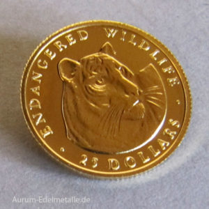 Cook Islands 25 Dollars Gold 1_25 Unze 1990 Tiger