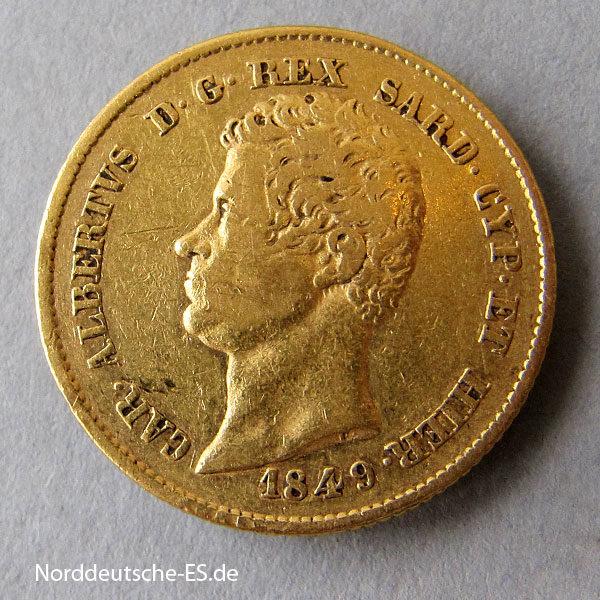 Italien Sardinien 20 Lire Gold Albertus II 1831-1849