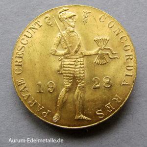 Niederlande 1 Dukat Goldmünze Ritter 1927-1928