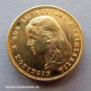 Niederlande 10 Gulden Wilhelmina Gold 1892-1897