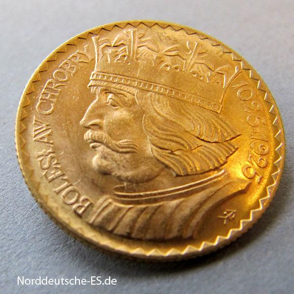 Polen 10 Zloty 1925 Boleslaw 900 Jahrestag Goldmünze