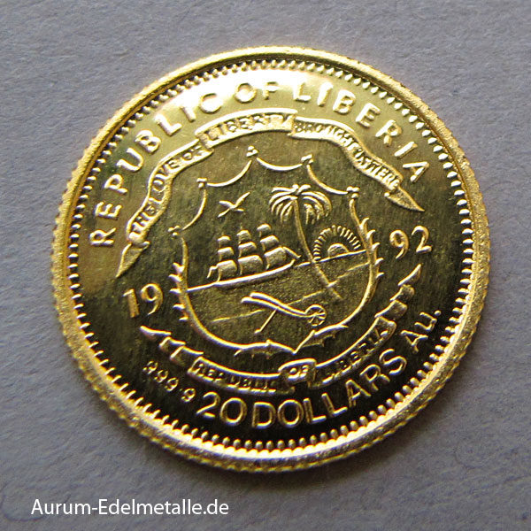 Republic of Liberia 20 Dollars Gold Willy Brandt 1992