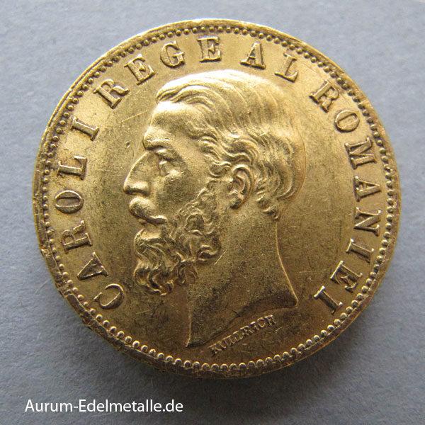 Rumänien 20 Lei Carol IGoldmünze1883-1890