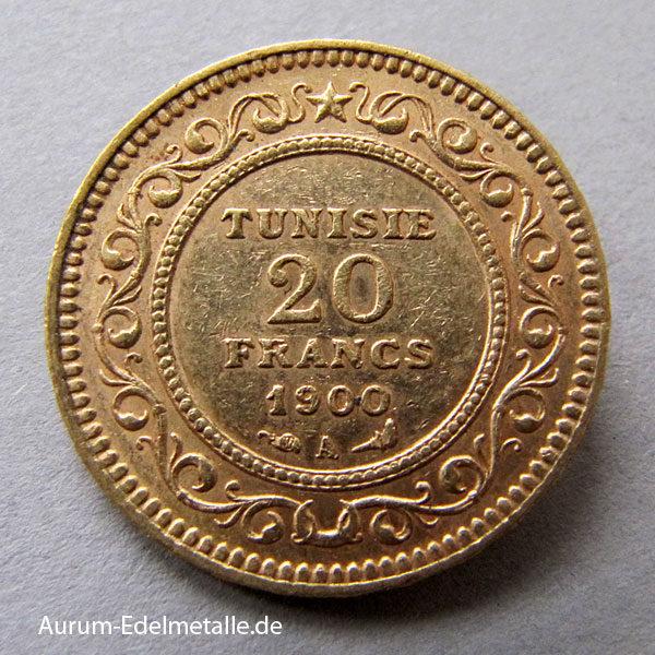 Tunesien 20 Francs Gold 1891-1902 Ali III