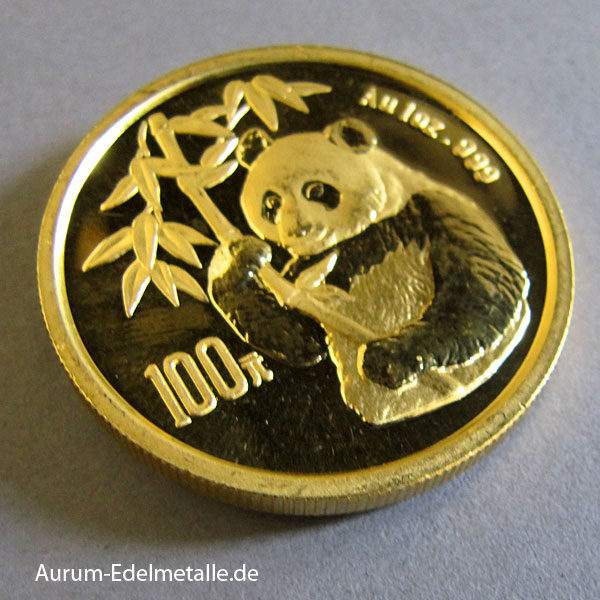 China Panda 1 OZ Gold 100 Yuan 1995 Sammlermünze
