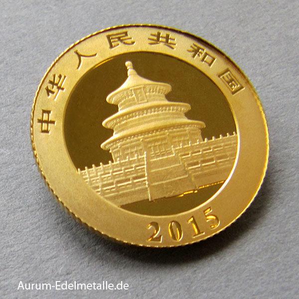 China Panda 1_10 Unze Goldmünze 15 Yuan 2015