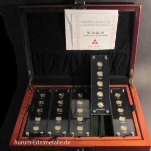 China Panda 25 x 15 Yuan 1_25 Unze Gold 1982-2007 Sammlung