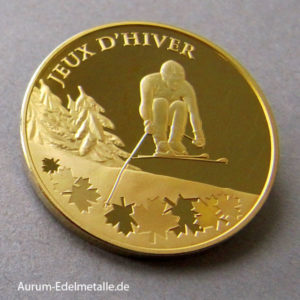 Frankreich 1_4 oz Gold Ski Alpine Olympiade 2009