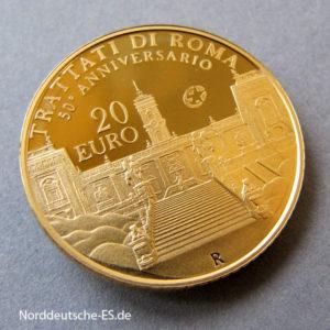 Italien 20 Euro Goldmünze 2007 Vertrag von Rom